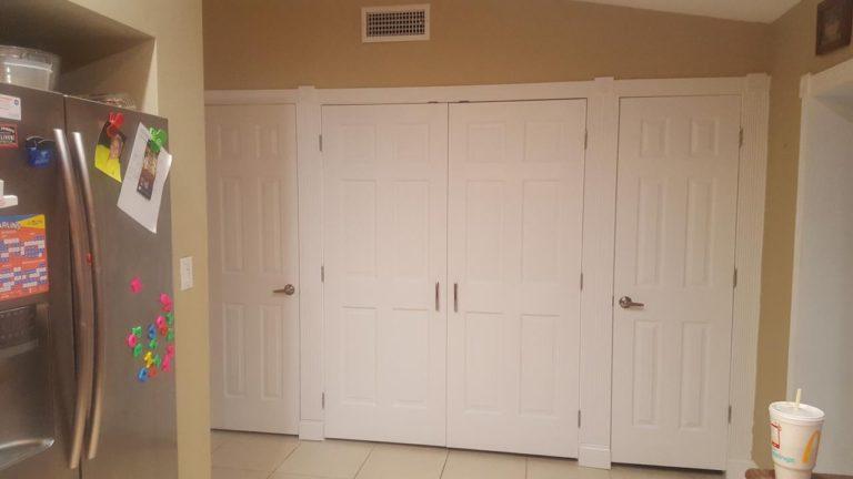 custom pantry with doors