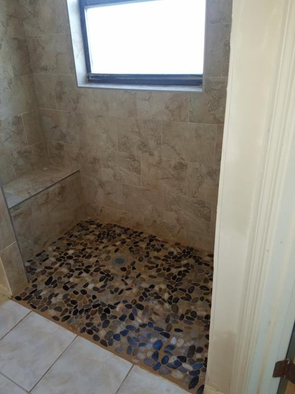 new shower seat and floor